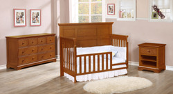Stanford Toddler Bed Conversion Kit with Waterford Collection Rustic Pecan