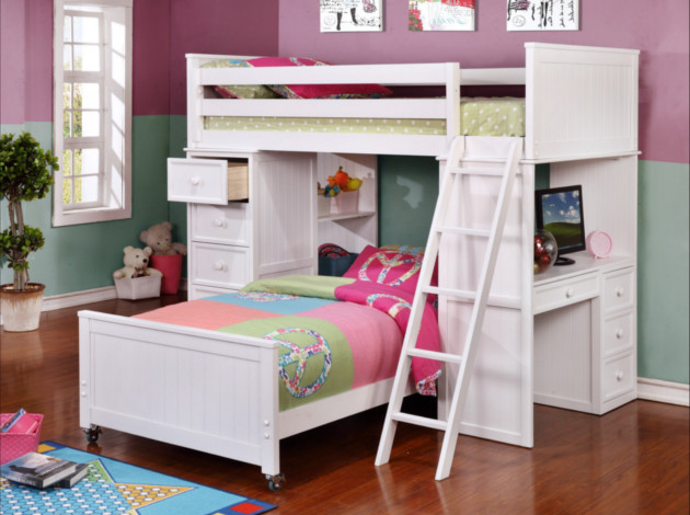 Student Loft Twin over Twin Bunk Bed White WS
