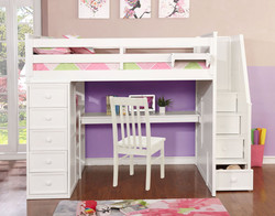 Multifunction Full Loft Bed with Desk and Stairs White_1