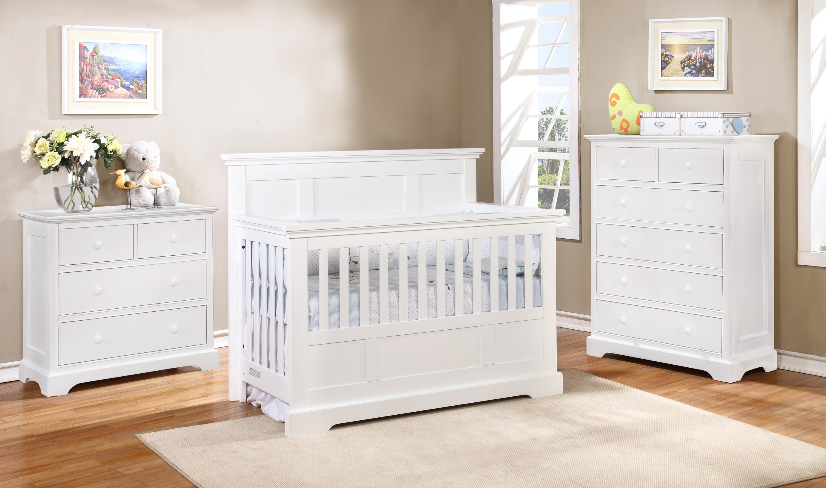 Stanford Conversion Crib Waterford with Waterford Collection White