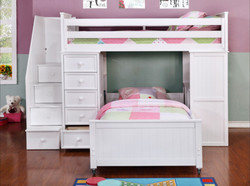 Student Loft Twin over Twin Bunk Bed with Stairs White W