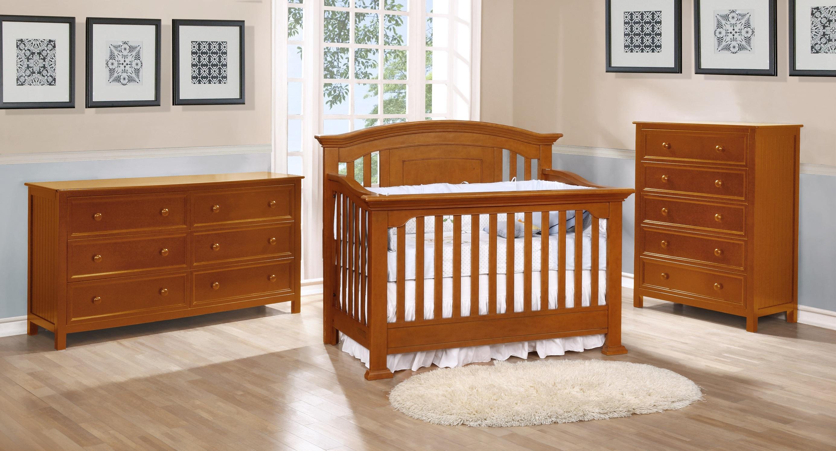Jordan Conversion Crib with Summerlin Collection Rustic Pecan