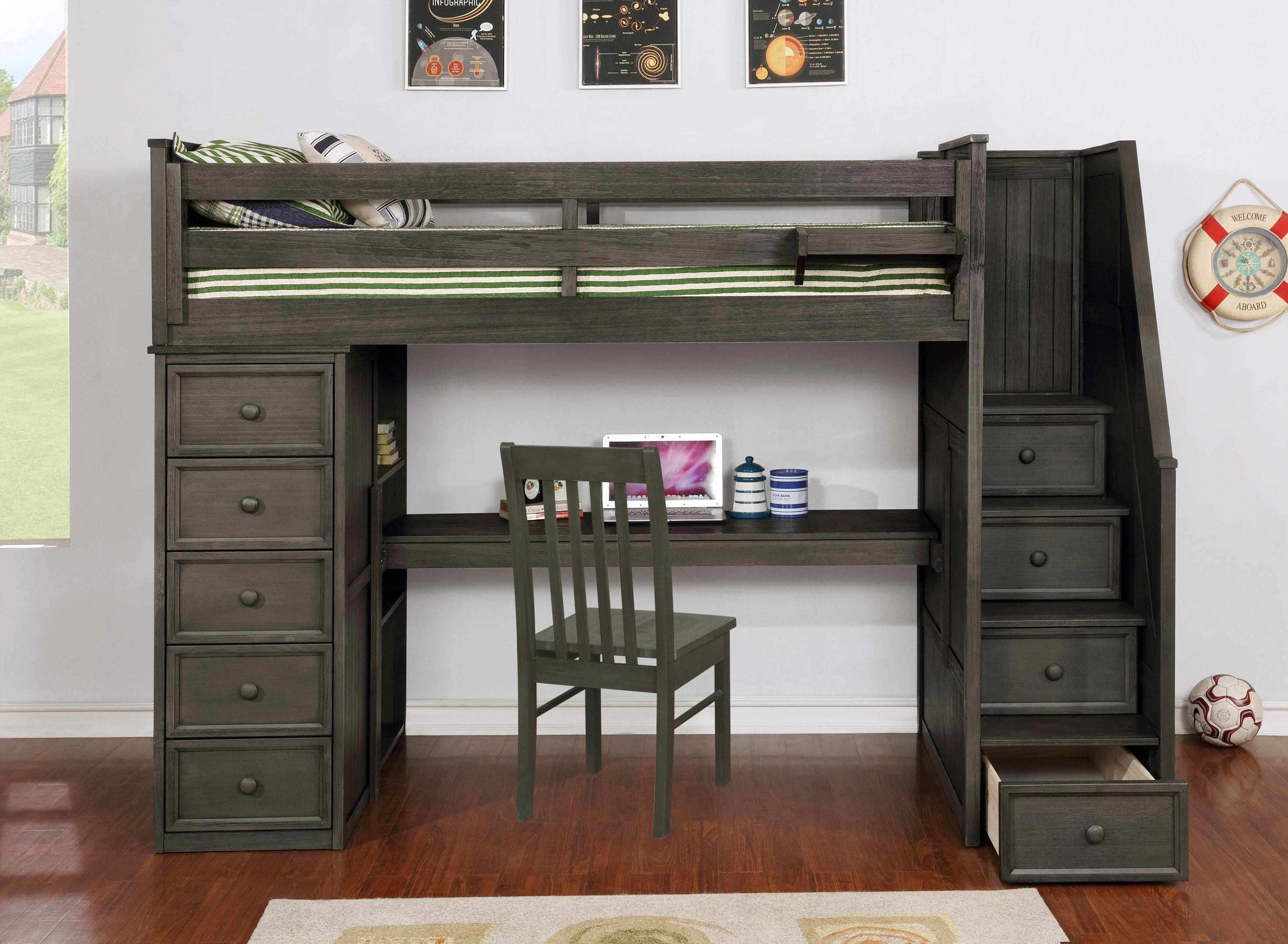Multifunction Twin Loft Bed with Desk and Stairs Weathered Grey