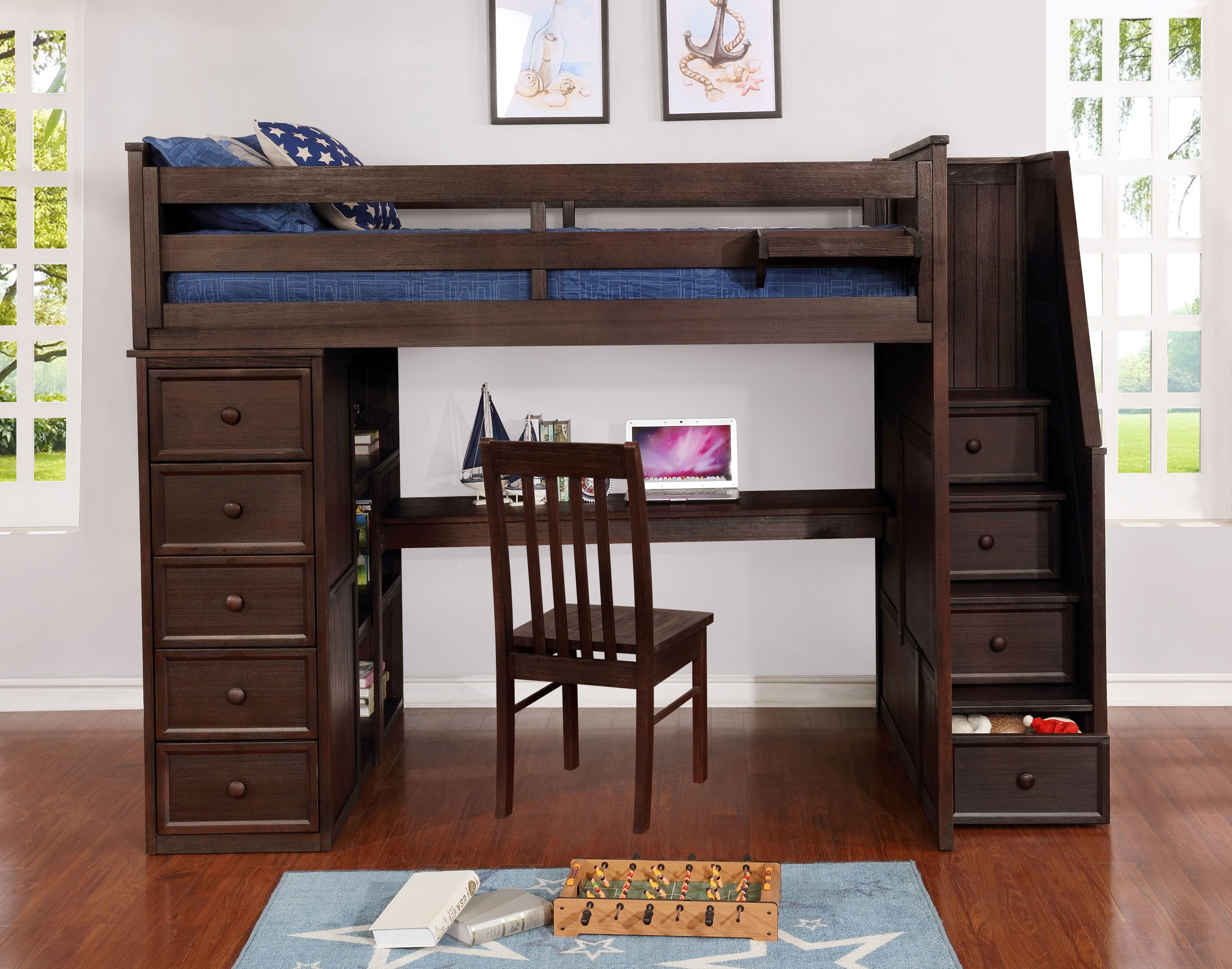 Multifunction Full Loft Bed with Desk and Stairs Weathered Espresso