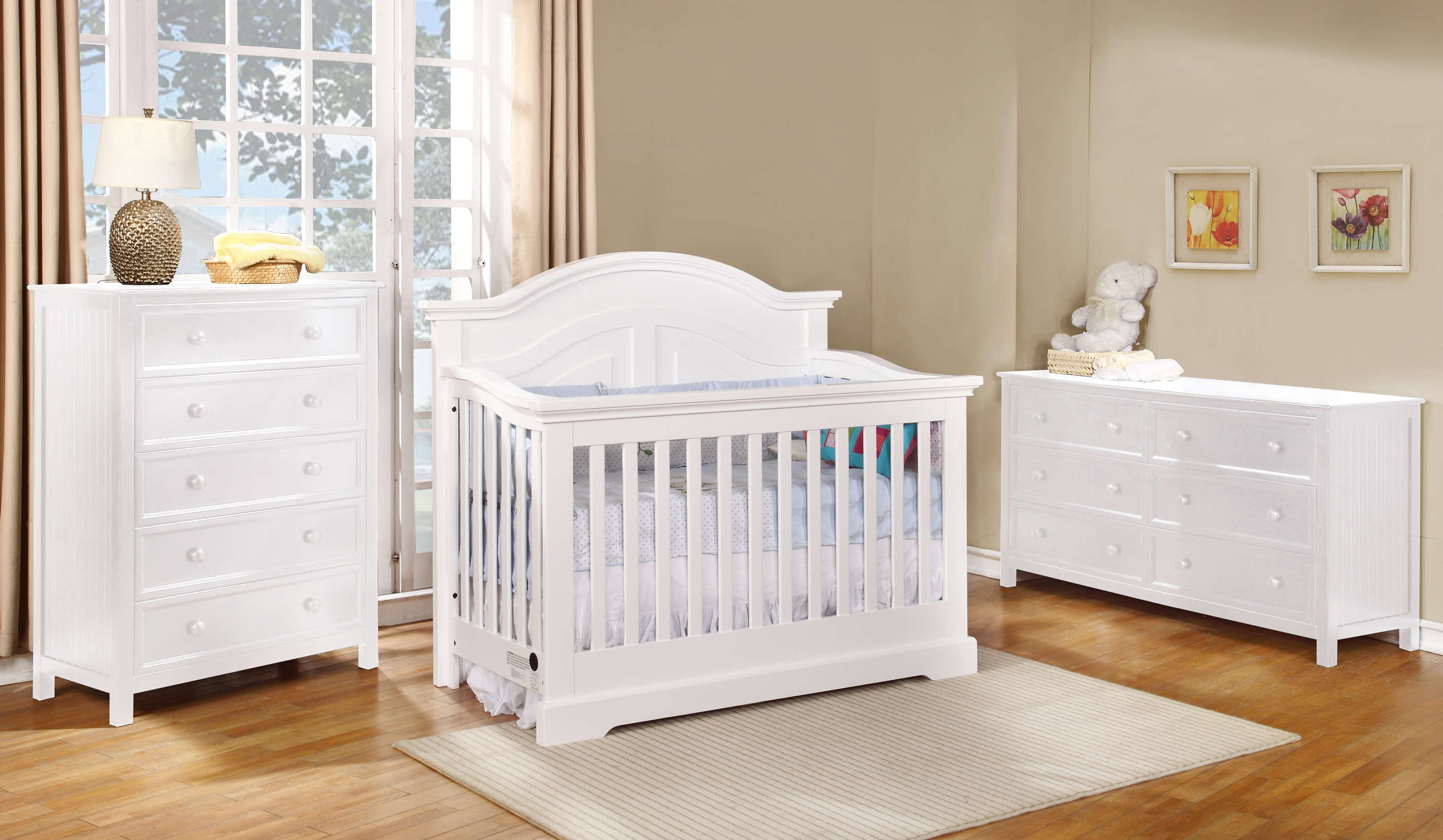 Waterford Curved Panel Conversion Crib with Summerlin Collection White