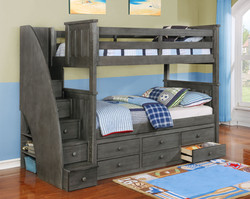 Jordan Twin over Twin Bunk Bed with Staircase and Waterford Captain's Storage Weathered Grey