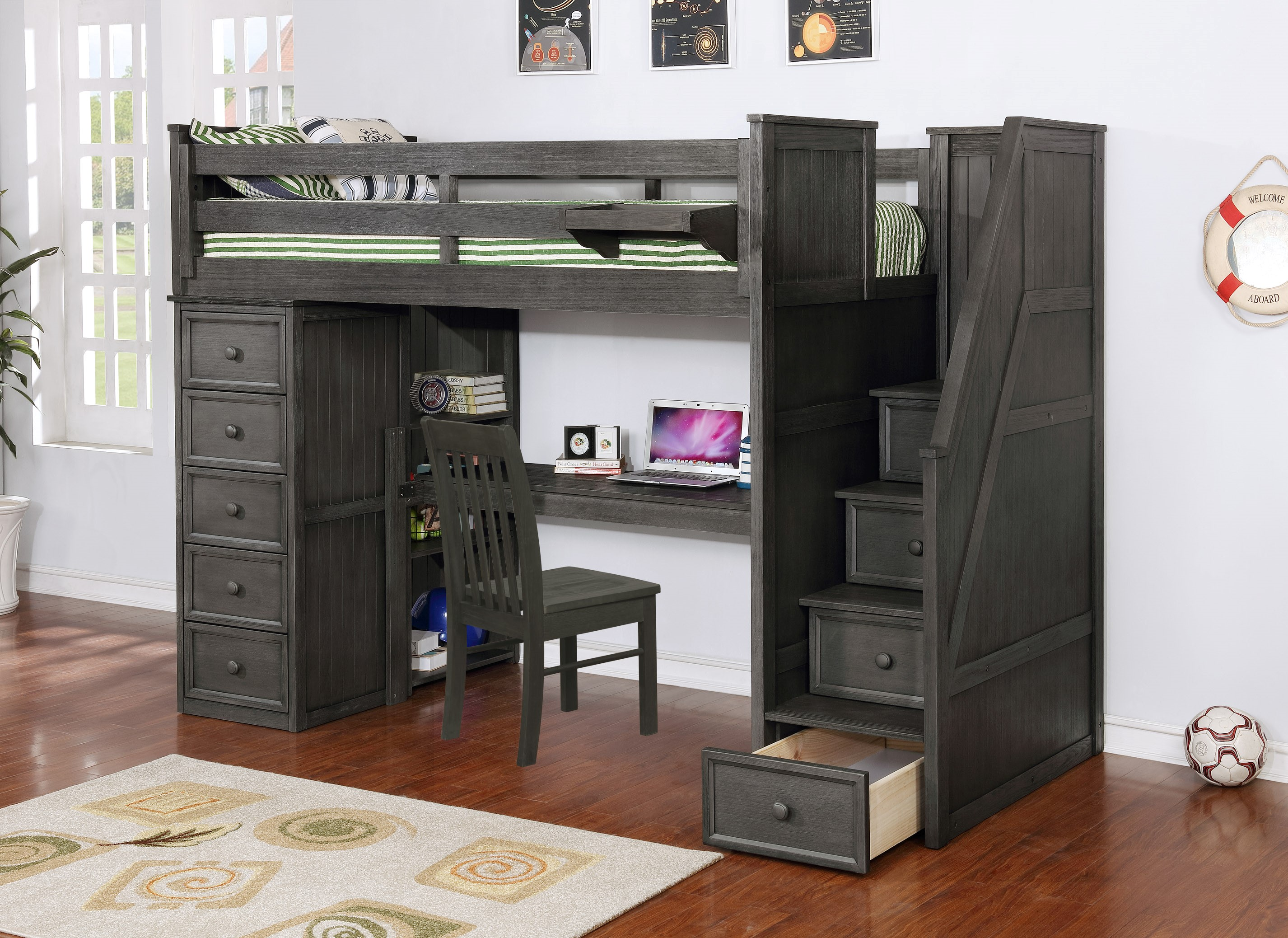 Multifunction Twin Loft Bed with Desk and Stairs Weathered Grey_1