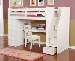 Multifunction Twin Loft Bed with Desk and Stairs White