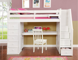 Multifunction Twin Loft Bed with Desk and Stairs White_2