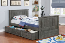 Jordan Twin Bed with Summerlin Trundle and Modesty Panel Weathered Grey