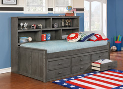 Sideways Twin Bed with Waterford Captain's Storage Weathered Grey