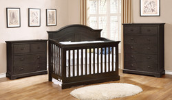 Waterford Curved Panel Conversion Crib with Waterford Collection Graphite Grey