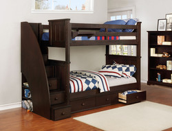 Jordan Twin over Twin Bunk Bed with Stairs and Waterford 3 Drawer Storage Weathered Espresso