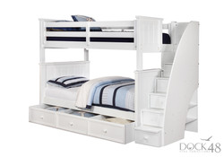 Jordan Twin over Twin Bunk Bed with Stairs and Trundle White