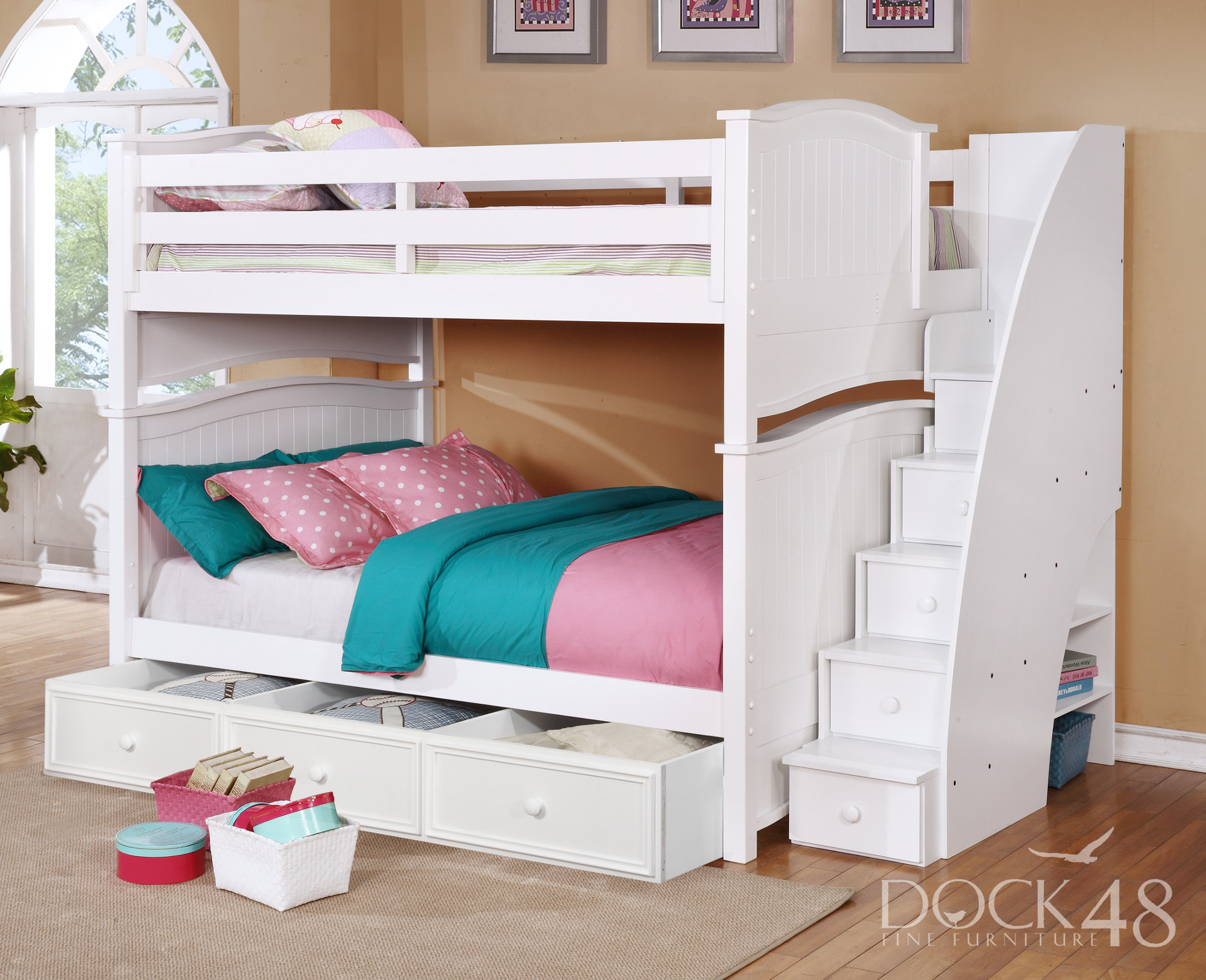 Ashton Full over Full Bunk Bed with Staircase and Summerlin 3 Drawer White
