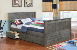 Jordan Full Bed with Waterford 3 Drawer Storage Modesty Panel Weathered Grey