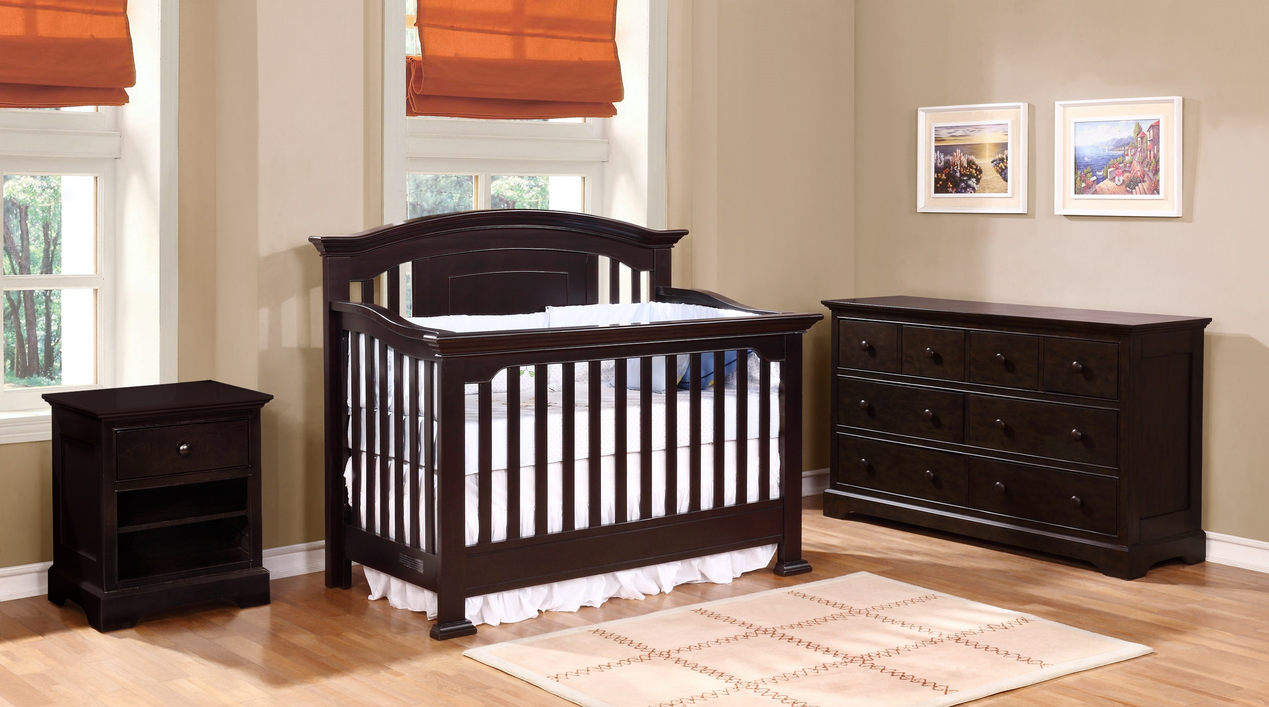 Jordan Conversion Crib with Waterford Collection Espresso