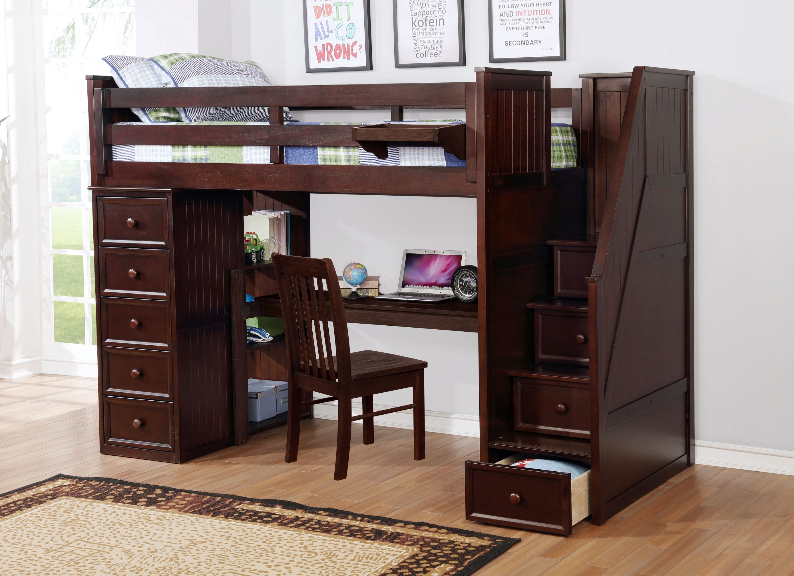 Multifunction Twin Loft Bed with Desk and Stairs Weathered Espresso