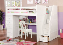 Multifunction Full Loft Bed with Desk and Stairs White