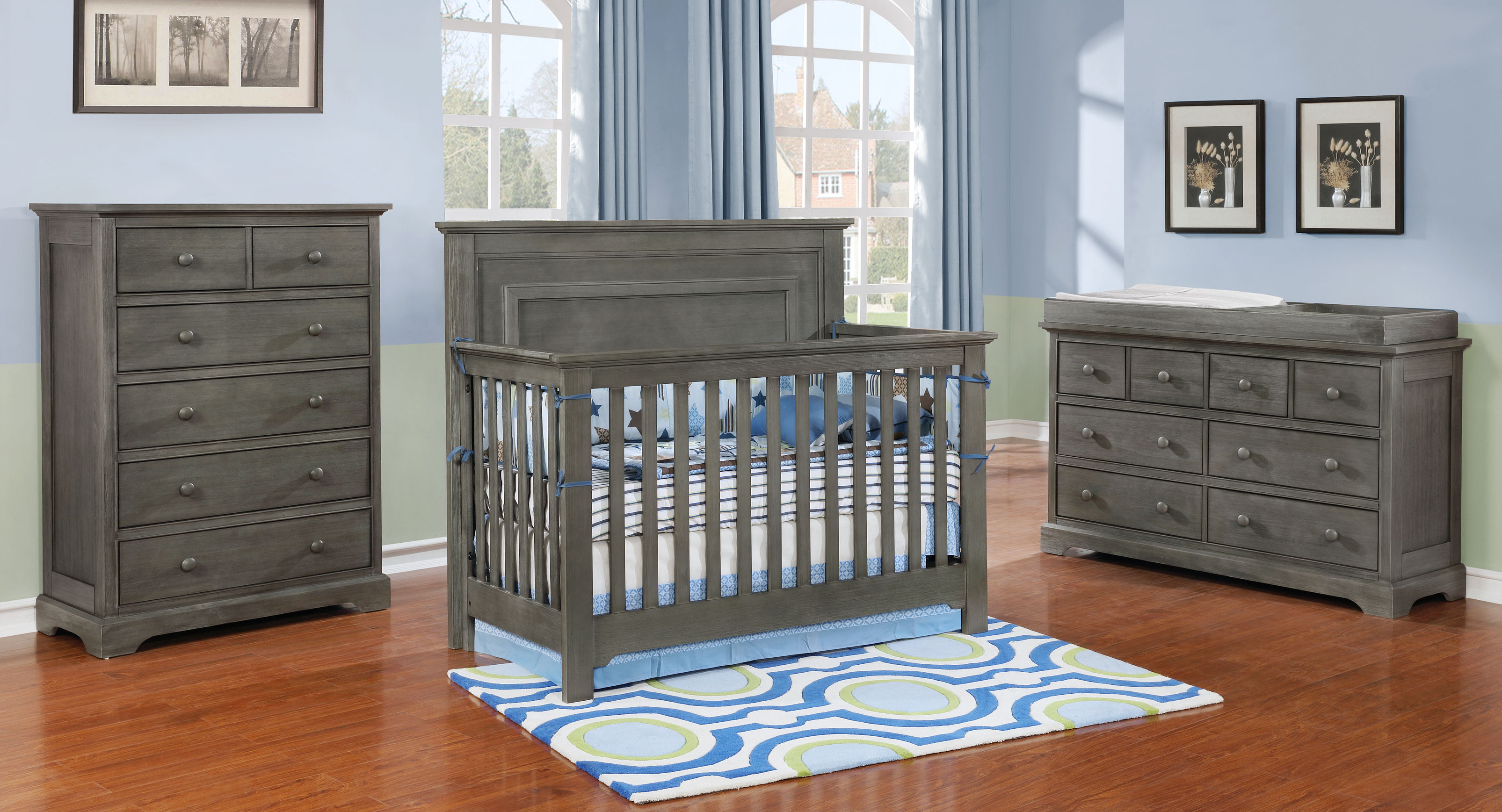 Waterford Panel Conversion Crib with Waterford Collection Weathered Grey