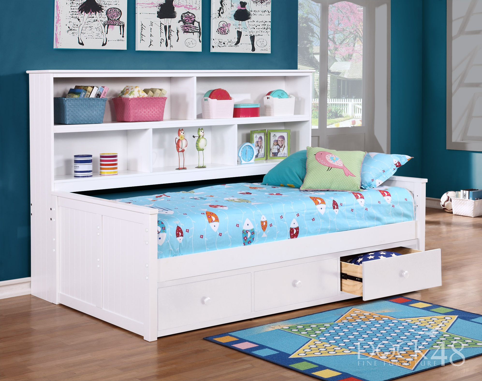 Sideways Twin Bed with Waterford 3 Drawer Storage White