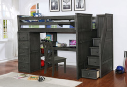 Multifunction Full Loft Bed with Desk and Stairs Weathered Grey