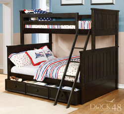 Jordan Twin over Full Bunk Bed with Summerlin Trundle Graphite Grey