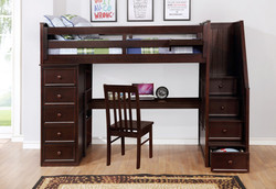 Multifunction Twin Loft Bed with Desk and Stairs Weathered Espresso_2