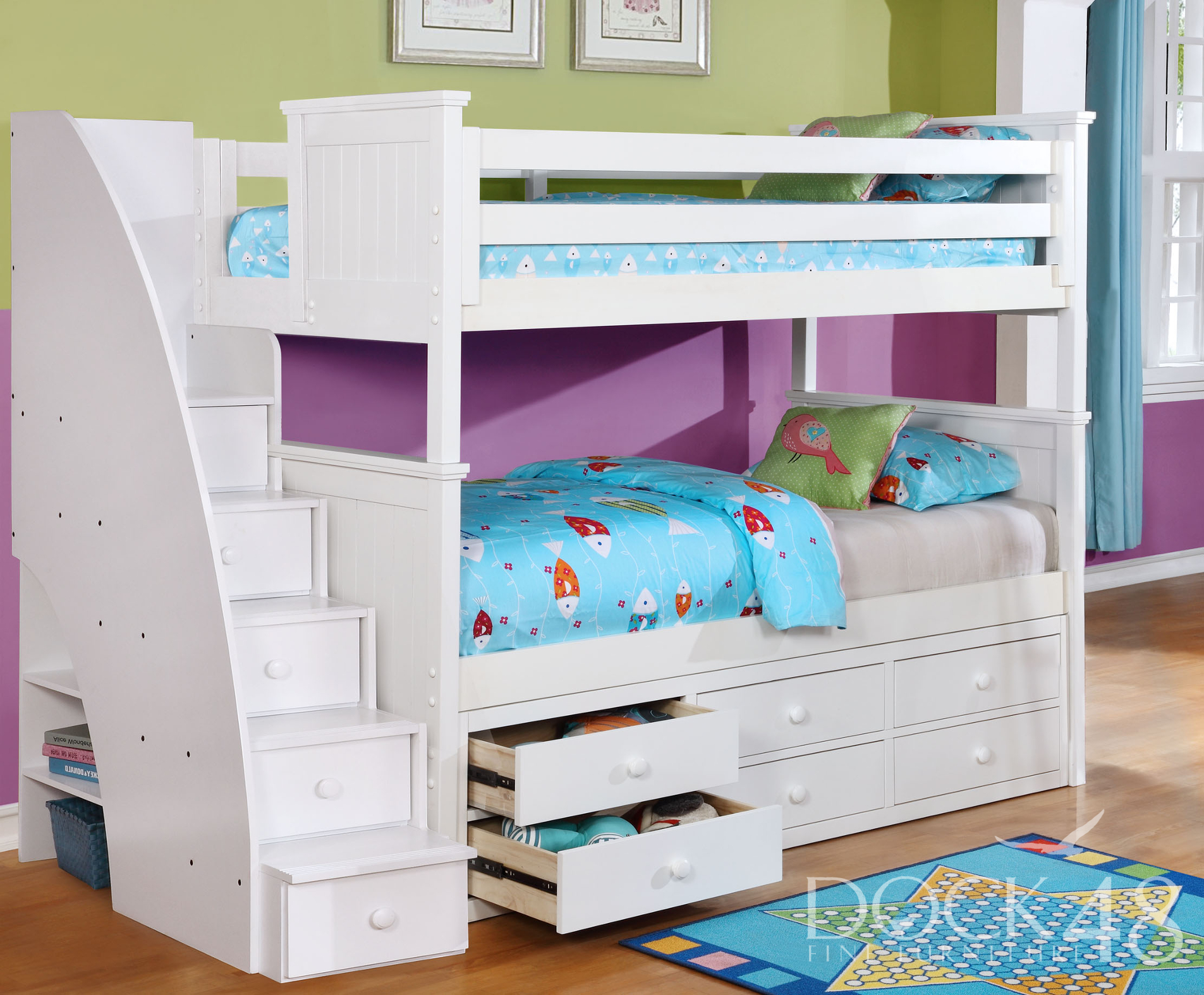 Beadboard Twin over Twin Bunk Bed with Stairs and Waterford Trundle White