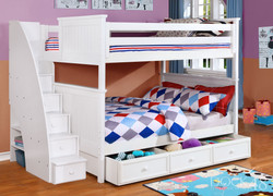 Beadboard Full over Full Bunk Bed with Stairs, Summerlin Trundle and Modesty Panel White