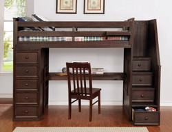 Multifunction Twin Loft Bed with Desk and Stairs Weathered Espresso_3