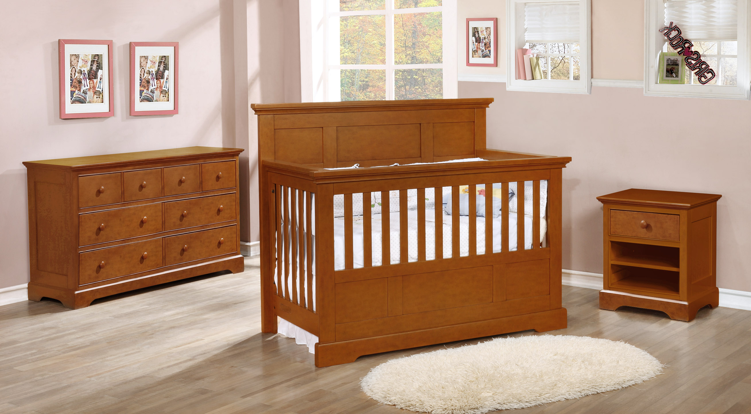 Stanford Conversion Crib with Waterford Collection Rustic Pecan