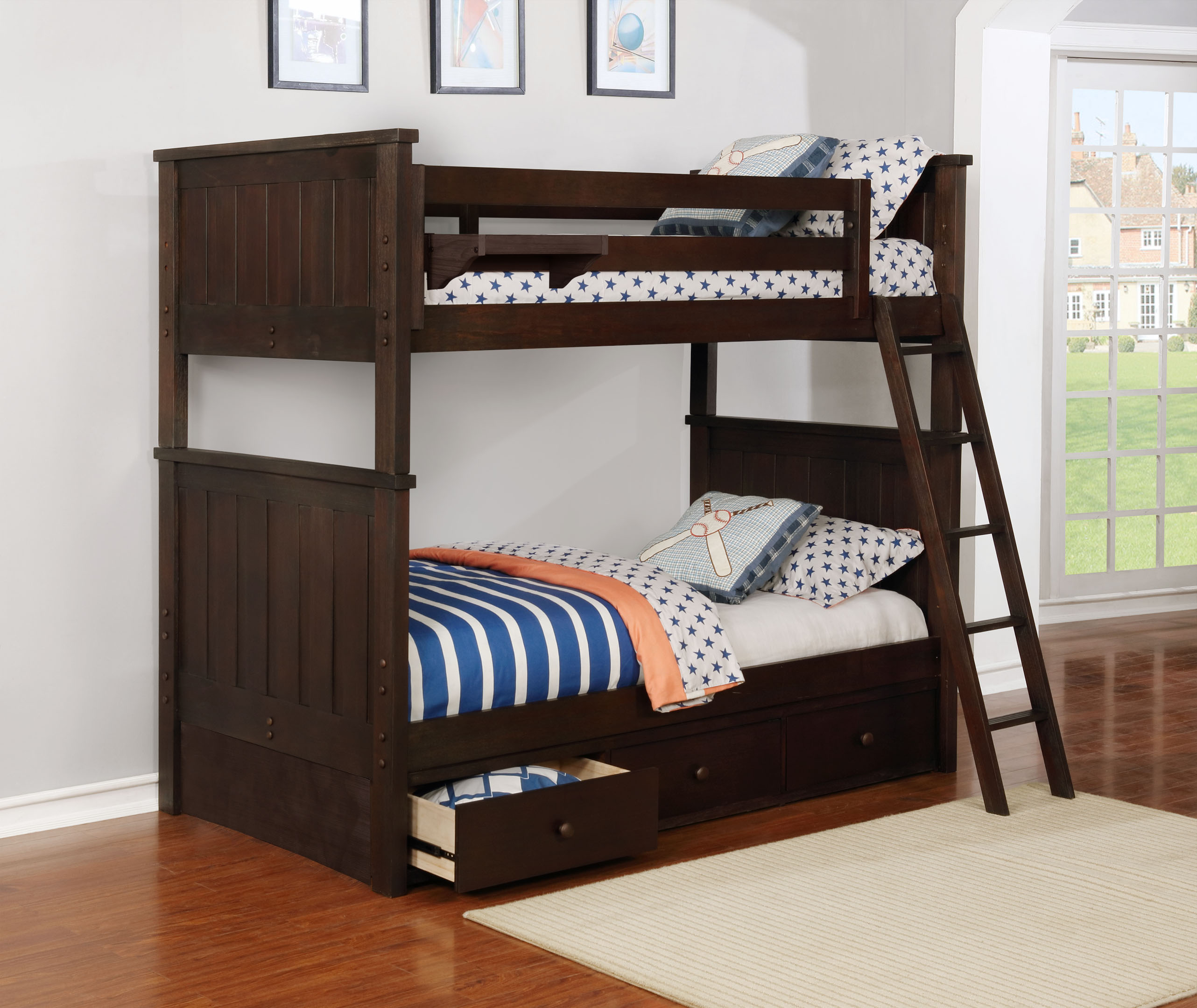 Jordan Twin over Twin Bunk Bed with Waterford 3 Drawer Storage Weathered Espresso