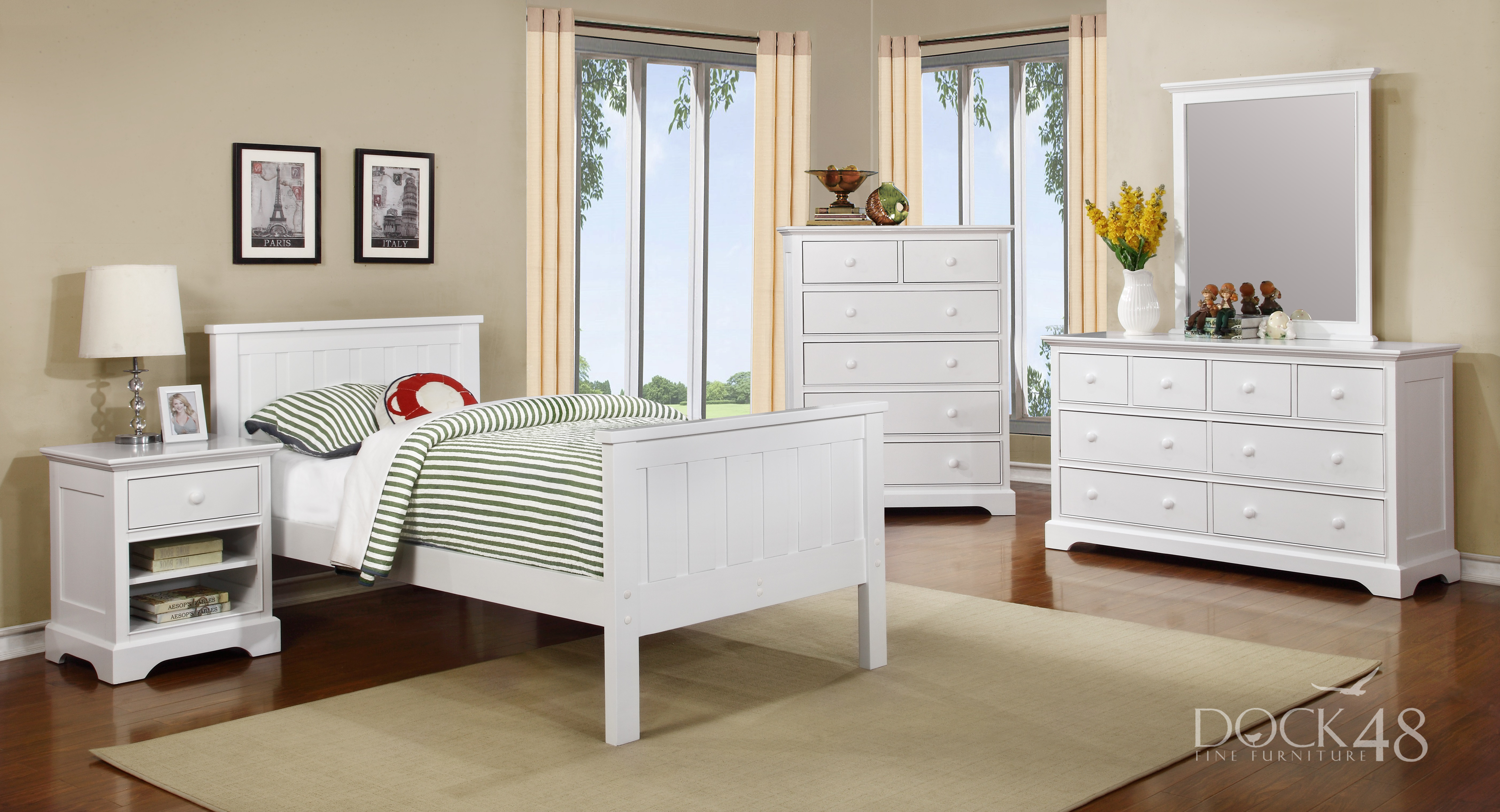 Jordan Twin Bed with Waterford Collection White