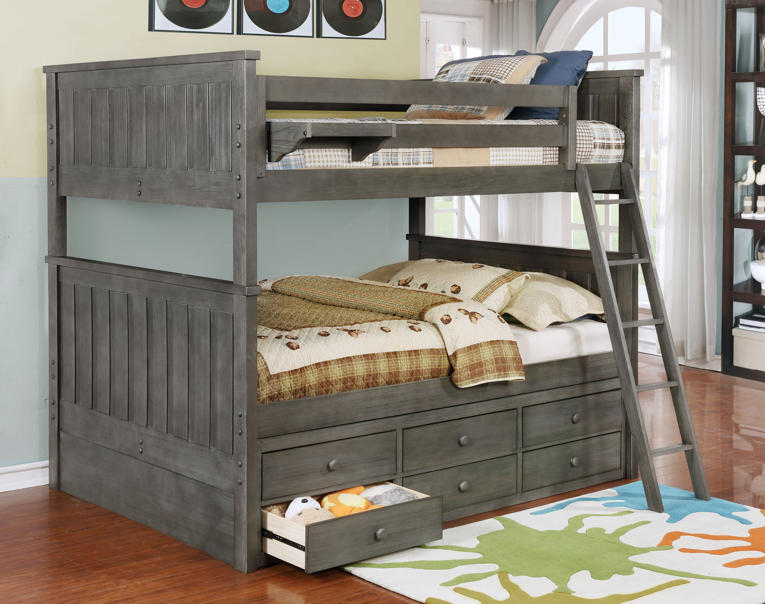 Jordan Full over Full Bunk Bed with Waterford Captain's Storage Weathered Grey