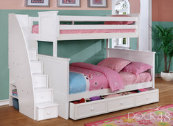 Beadboard Twin over Full Bunk Bed with Stairs, Summerlin Trundle and Modesty Panel White