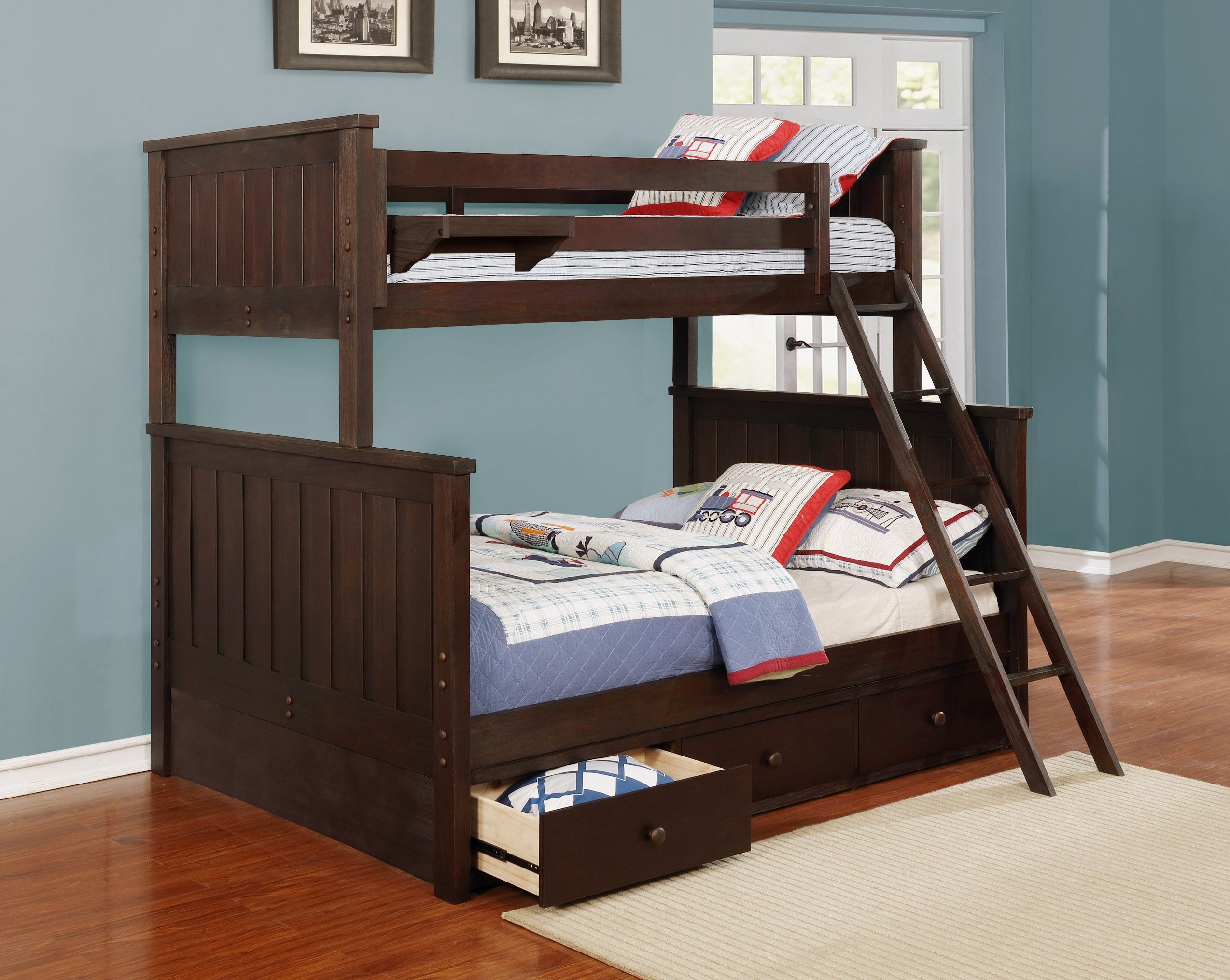 Jordan Twin over Full Bunk Bed with Waterford 3 Drawer Storage Weathered Espresso