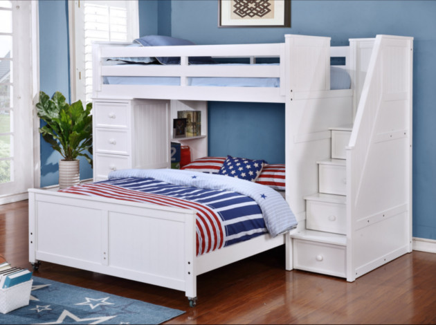 Multifunction Twin over Full Bunk Bed White S