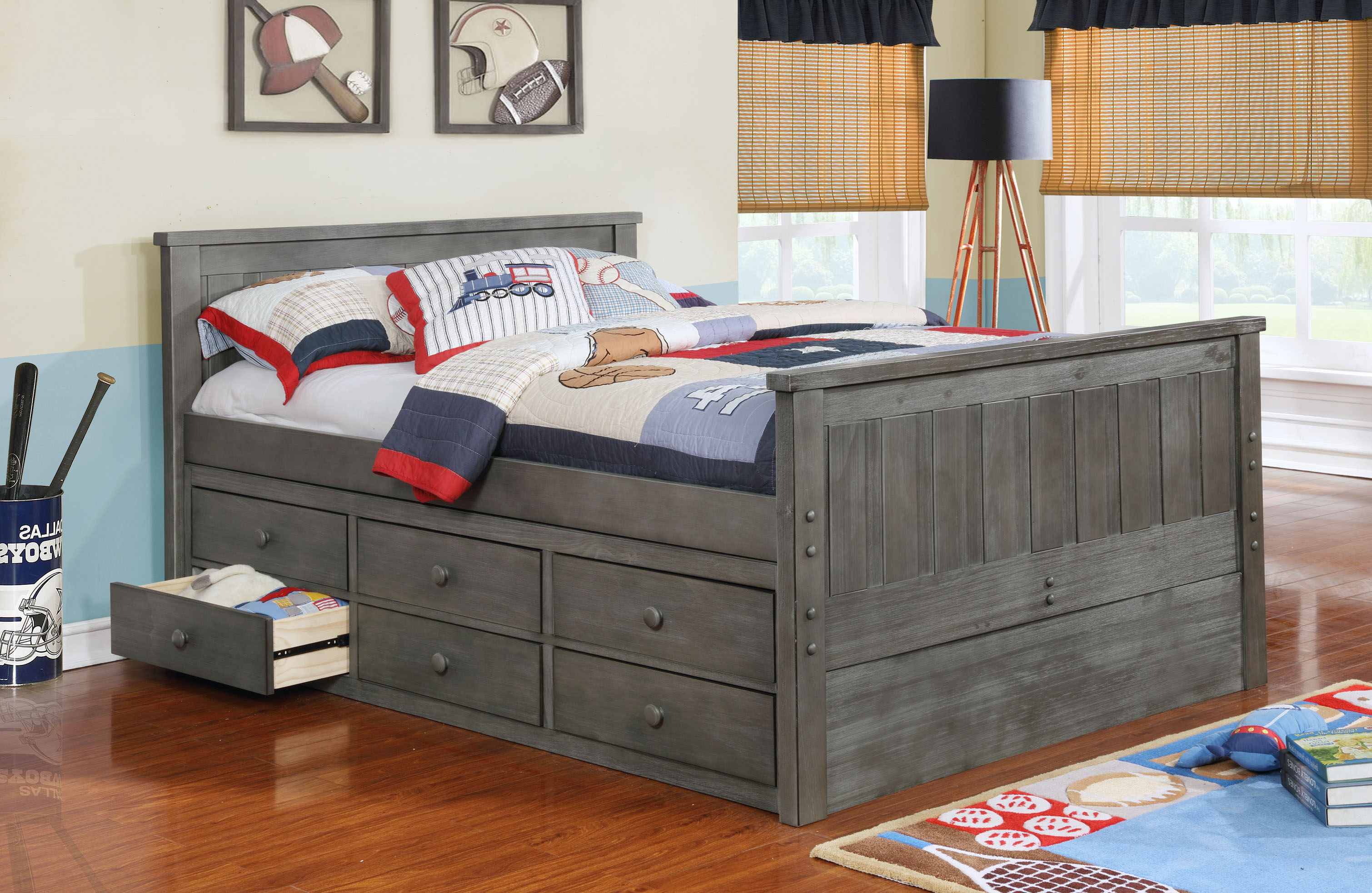 Jordan Full Bed with Waterford Captain's Storage and Modesty Panel Weathered Grey