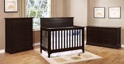 Waterford Panel Conversion Crib with Waterford Collection Graphite Grey