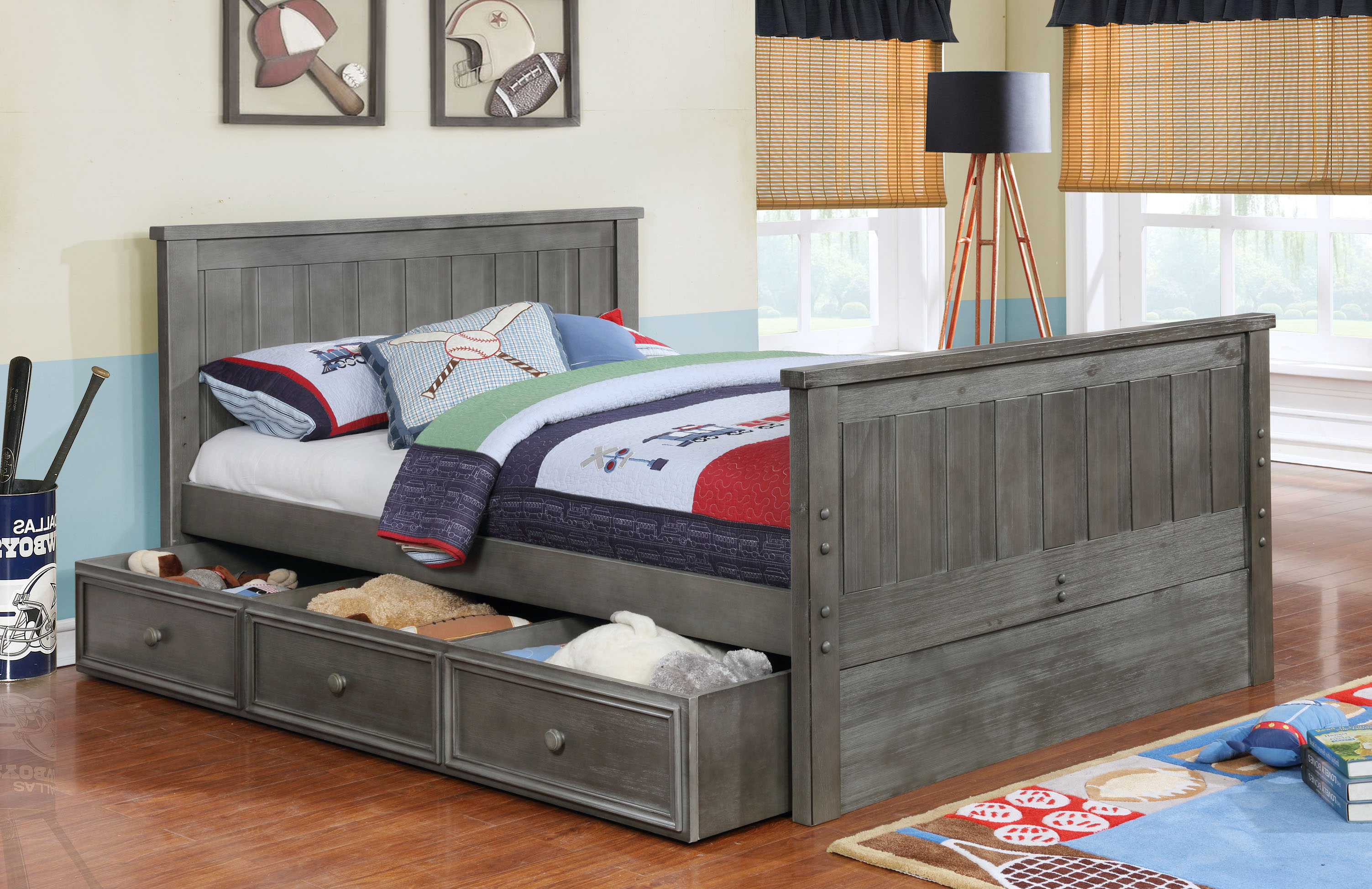 Jordan Full Bed with Summerlin Trundle and Modesty Panel Weathered Grey