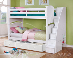 Ashton Twin over Twin Bunk Bed with Staircase and Summerlin 3 Drawer Storage White