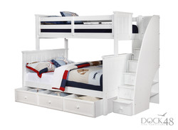 Jordan Twin over Full Bunk Bed with Stairs and Waterford Trundle White