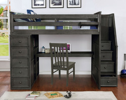 Multifunction Full Loft Bed with Desk and Stairs Weathered Grey_1