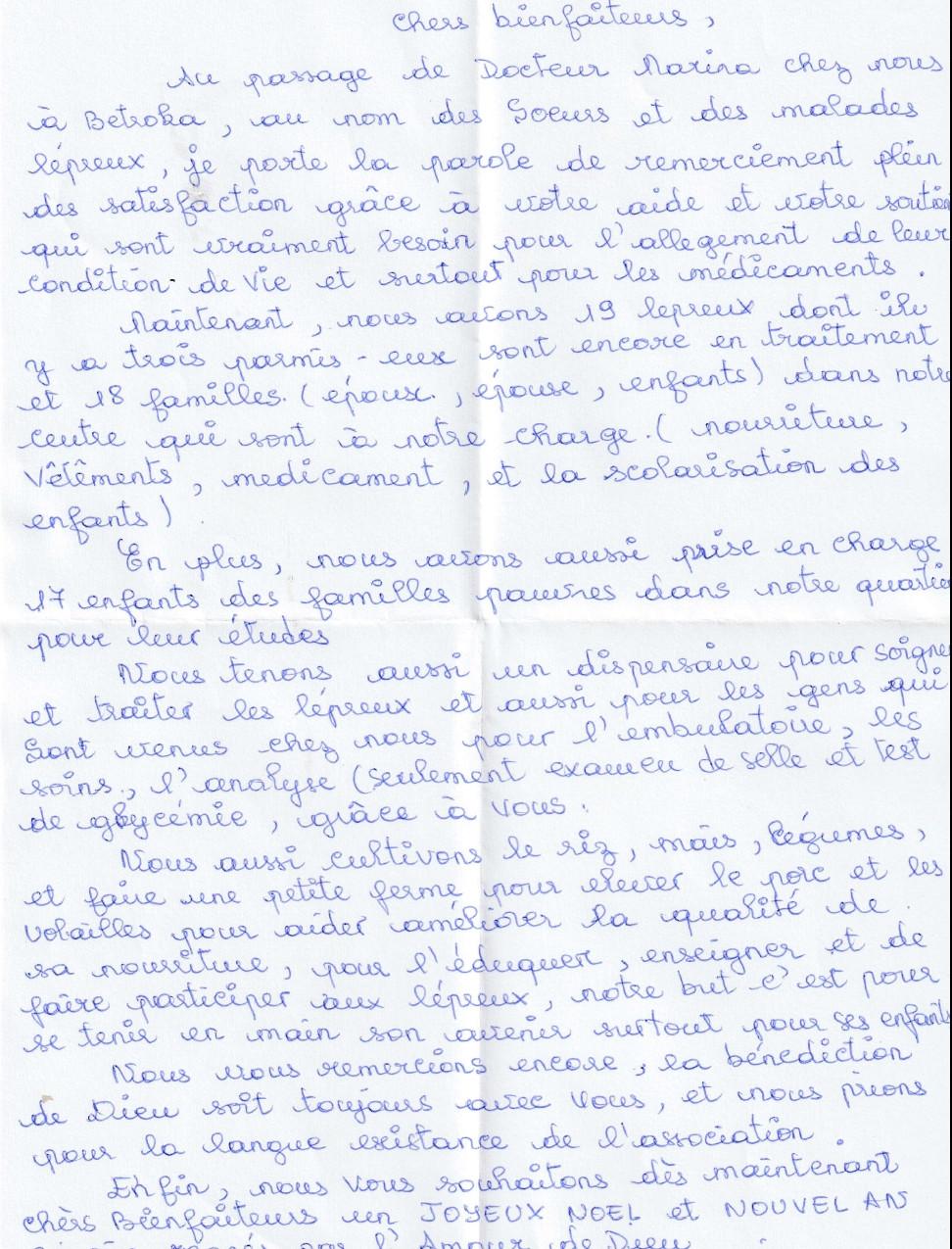 Lettera di suor Rosette
