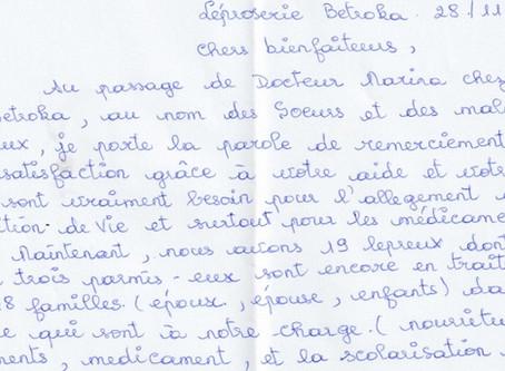 Betroka (Madagascar): suor Rosette ringrazia per l'offerta ricevuta