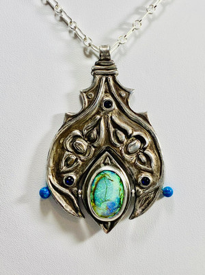 SC102 - $350 sterling Silver clay with a synthetic opal by Christopher Gage