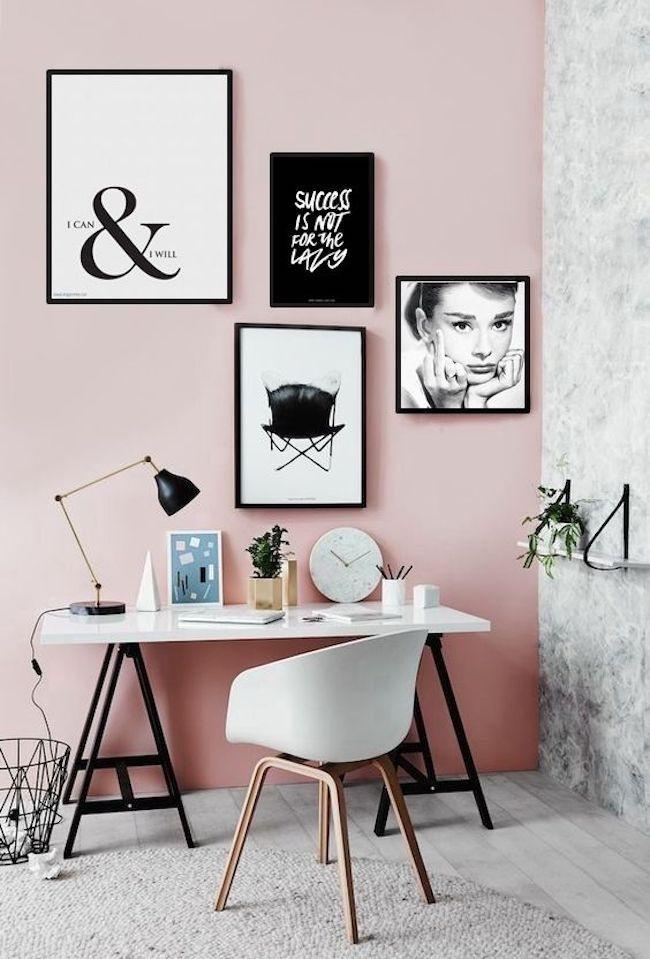 Home office rosa millennial