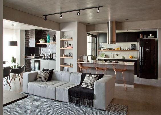 Sala, cozinha e varanda gourmet. Projeto: Bruno Moraes Arquitetura.
