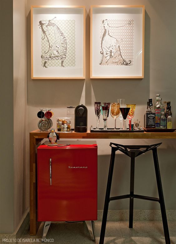 Cantinho do café e bar. Projeto: Isabela Bethônico.